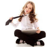 Little girl with tablet Royalty Free Stock Photo