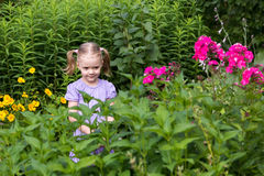 Little girl with tails among flowers in the park Stock Photo