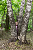 Little girl with tails hiding behind the trunk of birch Royalty Free Stock Photo