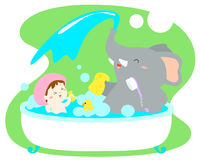 Little girl take a bath with elephant in tub . Little cute girl take a bath with elephant in tub  illustration Stock Photos