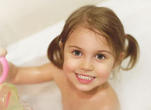 Little girl take bath Stock Photography