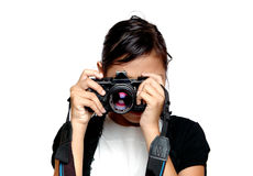 Little girl take a photo royalty free stock photos