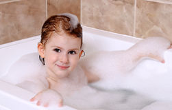 Little girl is taking a bath Royalty Free Stock Photo