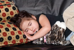 Little girl taking nap Royalty Free Stock Photography