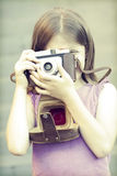 Little girl taking picture Stock Photo