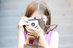 Little girl taking picture Stock Photos