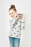 Little girl taking picture Royalty Free Stock Images