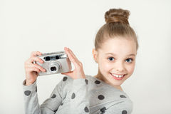 Little girl taking picture Royalty Free Stock Photography