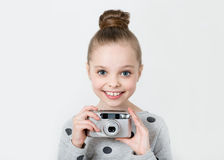 Little girl taking picture Royalty Free Stock Image