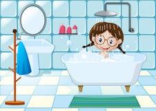 Little girl taking shower in bathroom. Illustration Stock Photography
