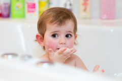 Little girl taking spa bath Royalty Free Stock Photos