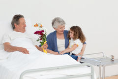 A little girl talking  with her grandparents Stock Photography