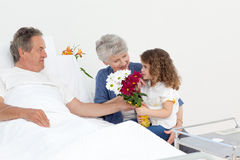 A little girl talking  with her grandparents Stock Photos
