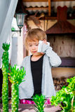 little girl talking on the phone. Child with mobile .  cute. Stock Images