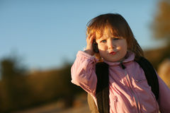 Little girl talking on the phone Royalty Free Stock Image