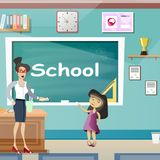 Little girl with teache in classroom. Vector illustration Royalty Free Stock Photo