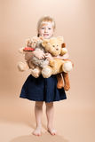 Little Girl With Teddies Stock Photography