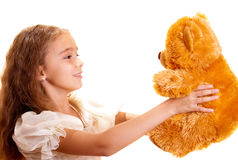 Little Girl And Teddy Bear Stock Photos
