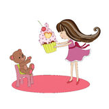 Happy Birthday Card With Girl And Cupcake Stock Vector