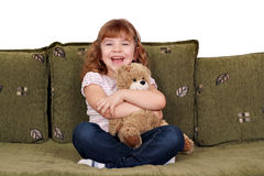 Little girl with teddy-bear Royalty Free Stock Photography
