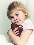Little girl with teddy bear Royalty Free Stock Image