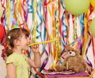 Little girl and teddy bear birthday party Royalty Free Stock Photos