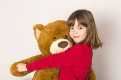 Little Girl And Teddy Bear Stock Photos