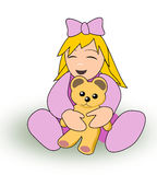Little girl with Teddy Bear Royalty Free Stock Photos