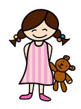 Little girl with teddy bear. Illustration of smiling little girl in pajamas with her teddy bear Royalty Free Stock Image