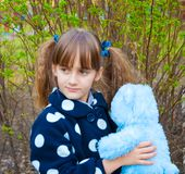 Little girl with teddy bear Royalty Free Stock Photo