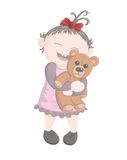 Little girl with teddy bear. A vector illustration of a cheerful baby girl hugging her favourite toy Royalty Free Stock Photos