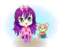 Little Girl with Teddy Bear royalty free illustration