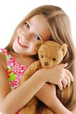 Little girl with teddy bear on white. Little girl with teddy bear Royalty Free Stock Photos