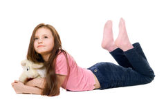 Little girl with a teddy elephant Royalty Free Stock Photos