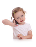 Little girl with telephone Stock Images