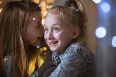 Girl telling secret to sister. Little girl telling secret to her excited sister Stock Photo