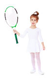 Little girl with a tennis racket in his hand Royalty Free Stock Images