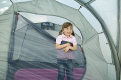 Little girl in tent Stock Image