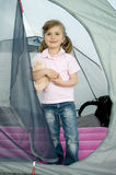 Little girl in tent Stock Photos