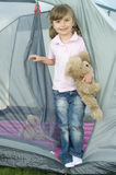 Little girl in tent Royalty Free Stock Photos