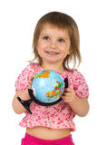 Little girl with terrestrial globe Royalty Free Stock Images