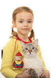 Little girl with Thai cat. Royalty Free Stock Photography