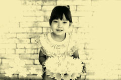 A little girl in Thai classical dress for Loy Kratong Festival Royalty Free Stock Photos