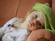 Little girl with thermometer Stock Photo