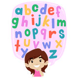 Little Girl thinking of Alphabet Set Stock Images
