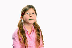 Little  girl with facial expression en pencil in h Stock Photography