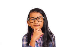 Little Girl Thinking and Smiling Stock Image