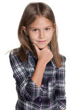 Little girl thinks Royalty Free Stock Photography