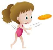 Little girl throwing frisbee. Illustration royalty free illustration