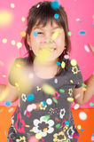 Little Girl Throws Confetti Royalty Free Stock Photography